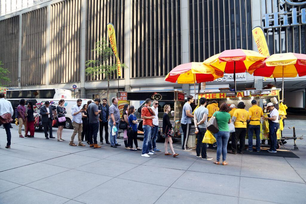 The famous never-ending line at The Halal Guys food cart[1]