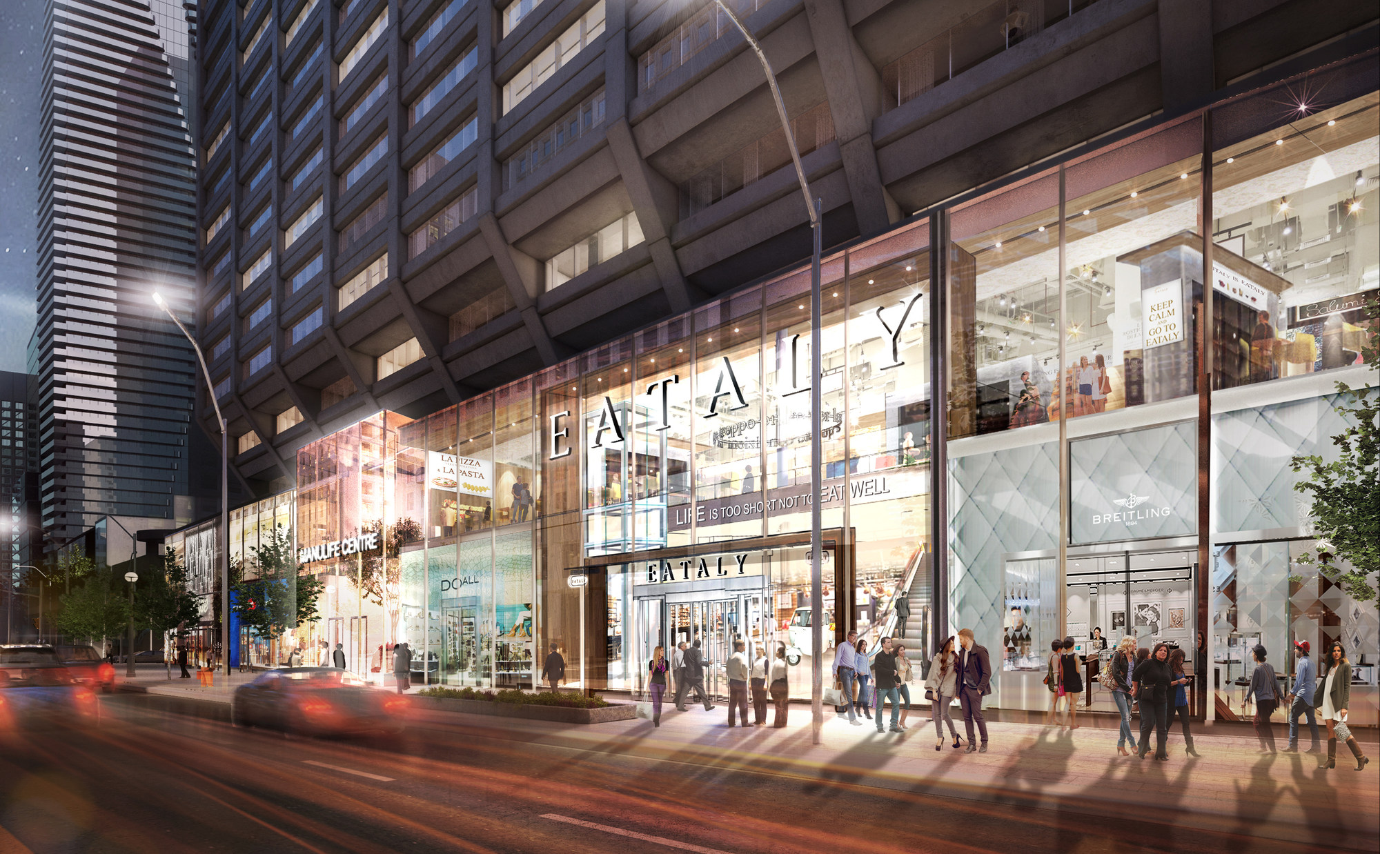 Eataly frontage on Bloor at the newly renovated Manulife Centre (CNW Group/Eataly)
