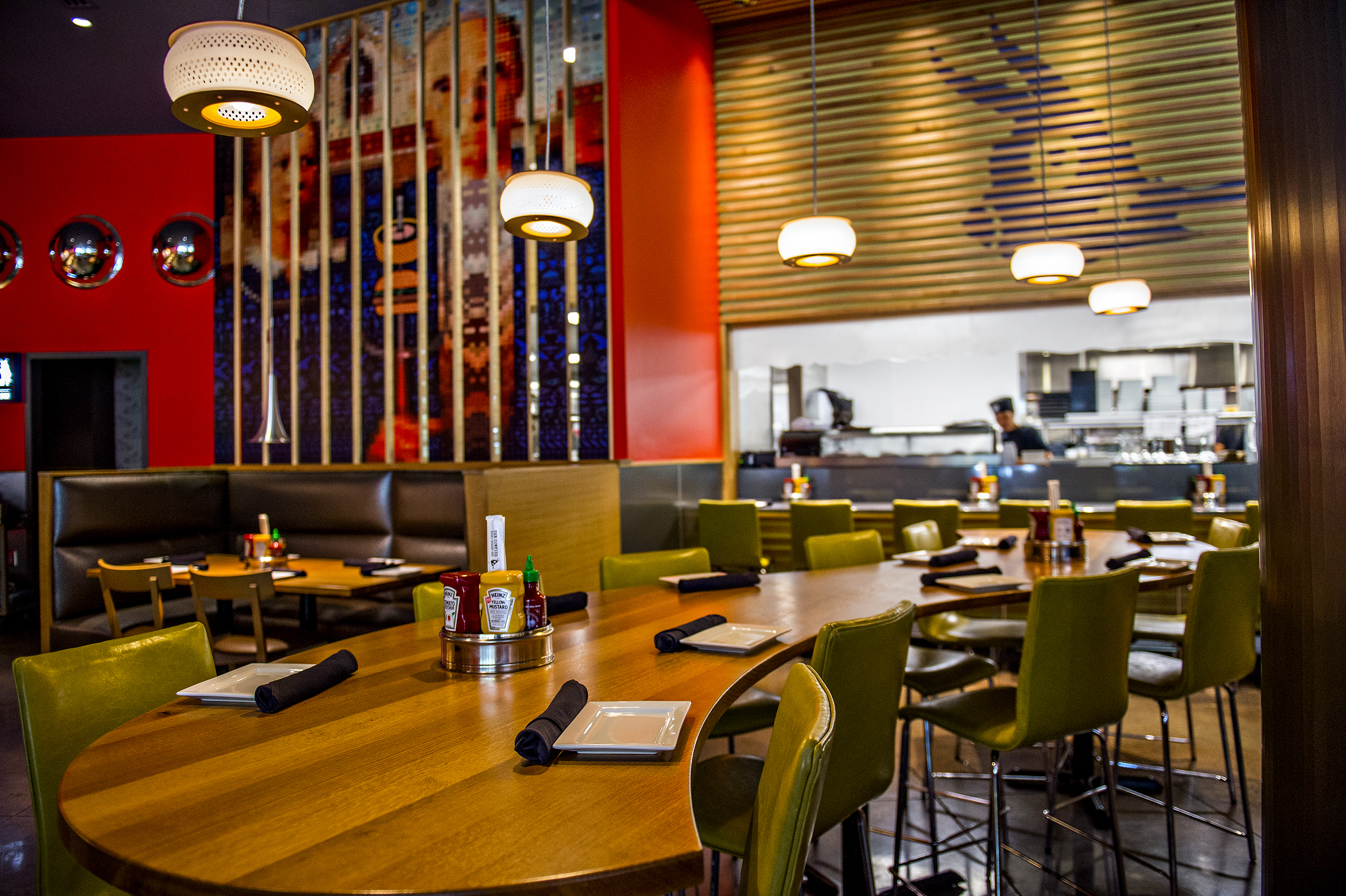 Photo: Jonathan Phillips         Larger tables for larger groups or get cosy with strangers at Cowfish.