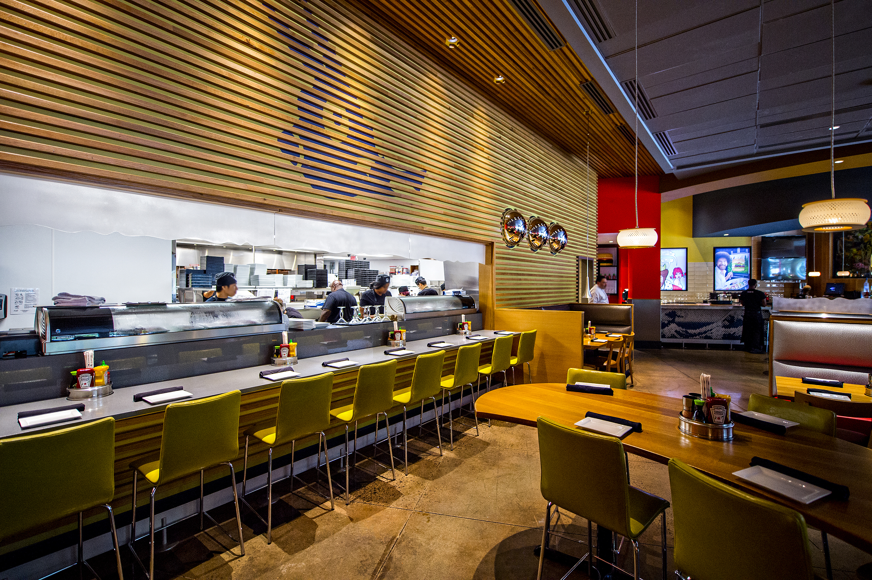 Photo: Jonathan Phillips         Sit at the sushi bar at Cowfish and watch the chefs at work or pull up a seat at one of the many fun tables.