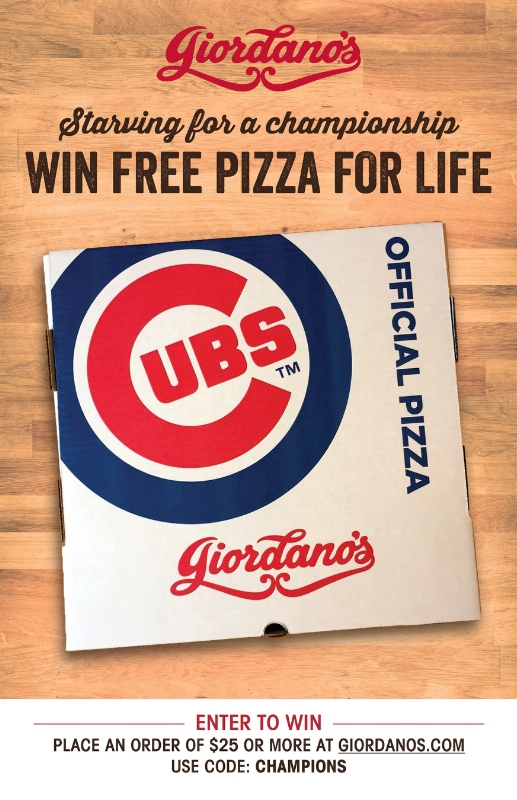 STARVING FOR A CHAMPIONSHIP? Satisfy A Lifetime Hunger With Giordano's: WIN FREE PIZZA FOR LIFE. (PRNewsFoto/Giordano's)