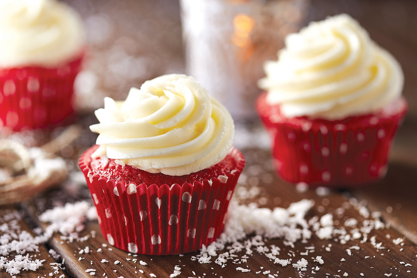 Red velvet cupcakes on wooden table
